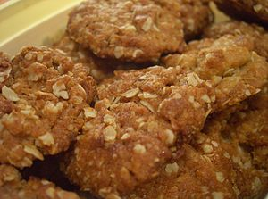 Freshly baked ANZAC biscuits. Note that these ...