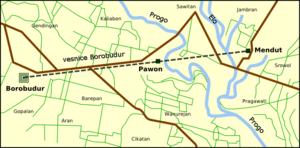 English: Location map of Borobudur, Pawon and ...