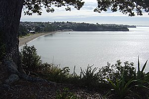Looking down on Browns Bay and beach from the ...