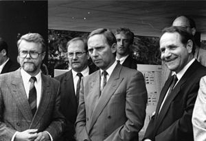 1989: Wolfgang Schäuble (front centre), German...