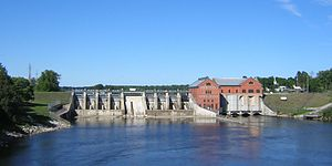 A view of the Croton Dam, a dam and powerplant...