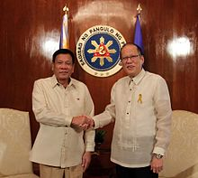 President-elect Rodrigo Duterte (left) and outgoing President Benigno Aquino III at Malacañang Palace on inauguration day, June 30, 2016