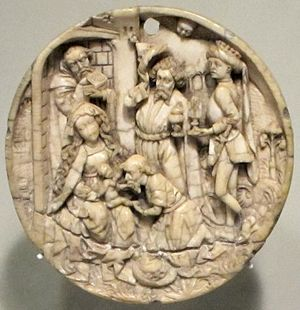 English: Early 16th century ivory carving of t...