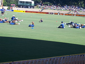 The Indian national cricket team warm up befor...
