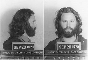 Mug shot of Jim Morrison.