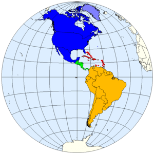 Division of the Americas into North, Central a...