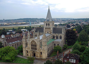 English: Rochester Cathedral as viewed from th...