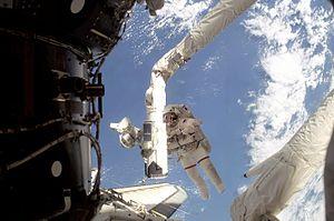 English: Astronaut Linda M. Godwin, STS-108 mi...