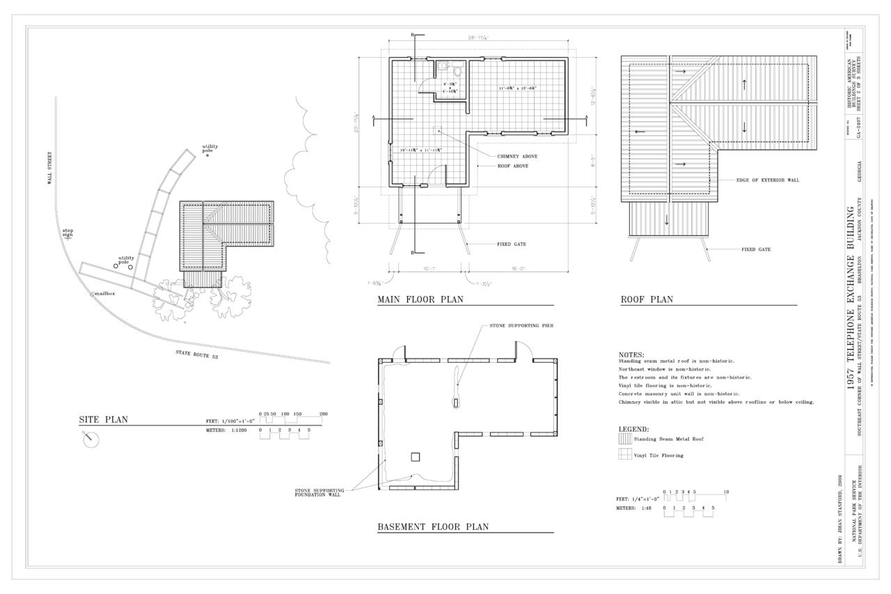 FileSite Plan Basement Plan Main Floor Plan and Roof Plan  1957 Telephone Exchange Building