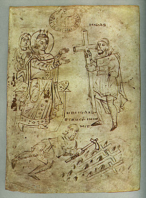 Finding of the true cross by St Helena. Illust...