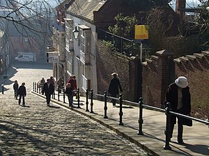 English: Steep Hill, Lincoln Phew ...nearly there!