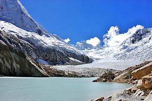Artesonraju glacier located in central Peru in...