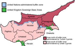 Map of the districts of Cyprus, named in Engli...