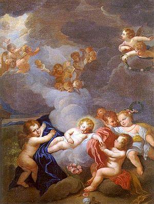 The Christ Child sleeping among angels.