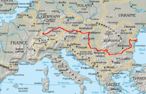 Topography of Europe, with Danube marked red