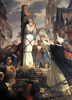 Joan of arc burning at stake. Drawn by Jules-E...