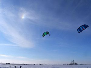 Kites that are used to lift skateboarders up i...