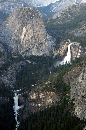 Vernal (left) and Nevada waterfalls in Yosemit...