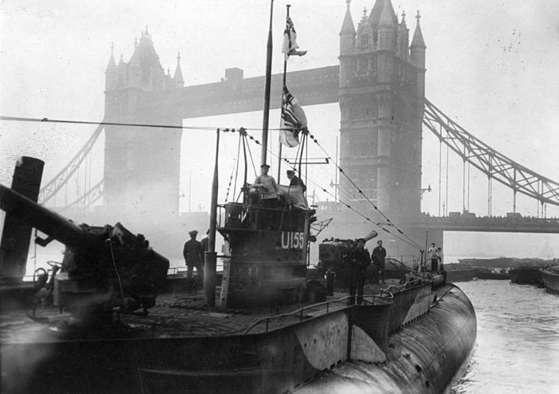U-155 exhibited near Tower Bridge in London after World War I.