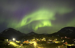 Northern lights over Kulusuk, Greenland