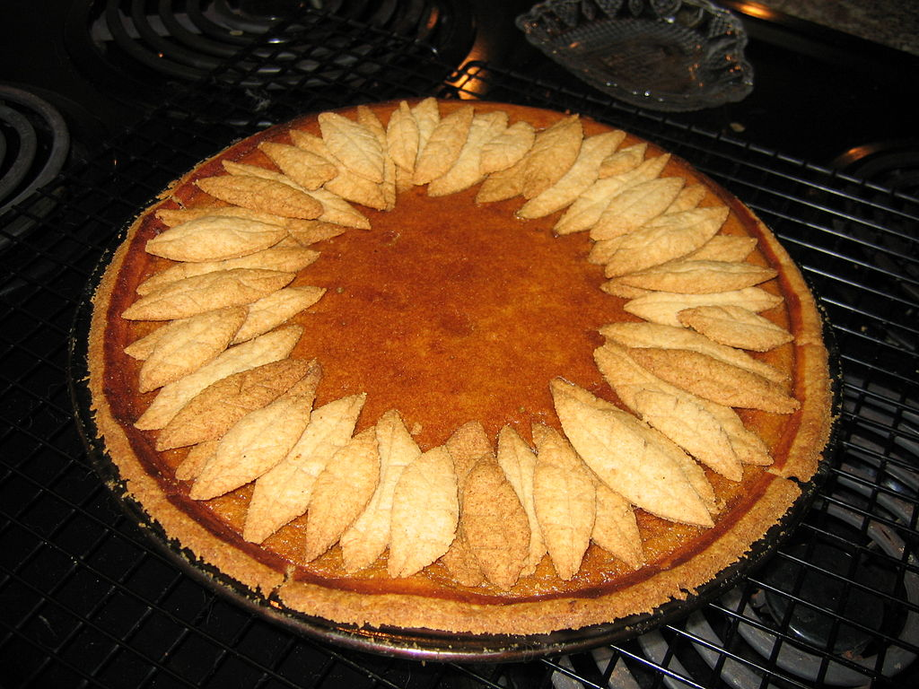 FilePumpkin pie with pastry leaf decoration November