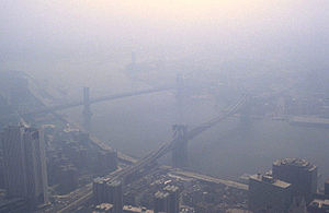 Smog in New York City as viewed from the World...