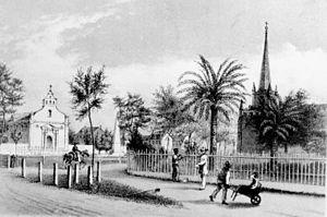 """""""Public Square, St. Augustine."""" Lith..."""