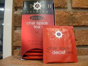 A Box of Stash Chai Spice Tea and Bag.