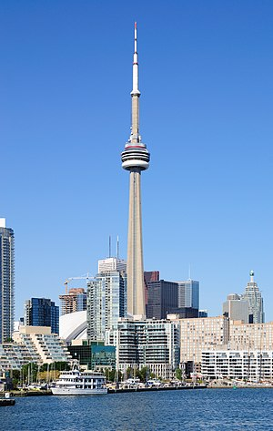 The CN Tower and the Toronto Harbor viewed fro...