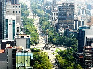 Reforma and El Ángel as seen from the Torre Mayor.