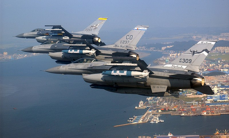 File:US Air National Guard F-16s over Kunsan, ROK.jpg