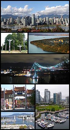 Theo chiều kim đồng hồ từ trên cùng: Trung tâm Vancouver nhìn từ bờ nam của vịnh False, Đại học British Columbia, cầu Lions Gate, quang cảnh từ cầu Granville Street, cầu Burrard, Thiên Hi môn tại phố Trung Hoa, những cột vật tổ trong công viên Stanley