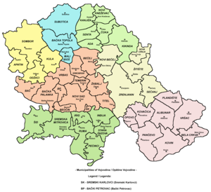 Map showing municipalities of Vojvodina.