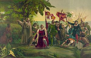 First landing of Columbus on the shores of the...