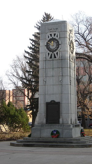 City Hall clock, Saskatoon. Its bell can be he...