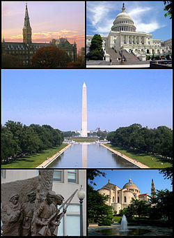 Trên trái: Đại học Georgetown; trên phải: Tòa Quốc Hội Hoa Kỳ; giữa: Tượng đài Washington; dưới trái: Đài tưởng niệm nội chiến người Mỹ gốc châu Phi; dưới phải: Đền Quốc gia