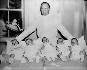 Mitchell Hepburn with Dionne Quintuplets