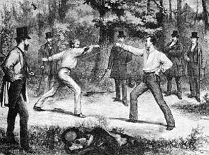 Französisches Duell im Bois de Bologne von Par...