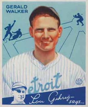 English: 1934 Goudey baseball card of Gerald &...