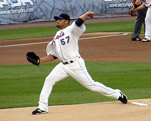 Johan Santana pitching for the New York Mets o...