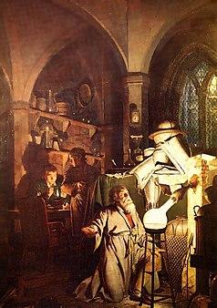 O Alquimista em Busca da Pedra Filosofal quadro de Joseph Wright (1771)