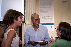 Nuruddin Farah talking with some fans at the r...
