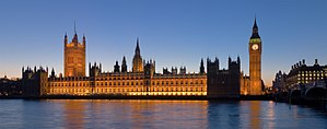 The Palace of Westminster at night as seen fro...