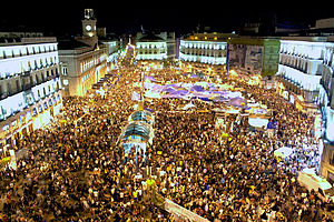 English: Puerta del Sol in Madrid during the 2...
