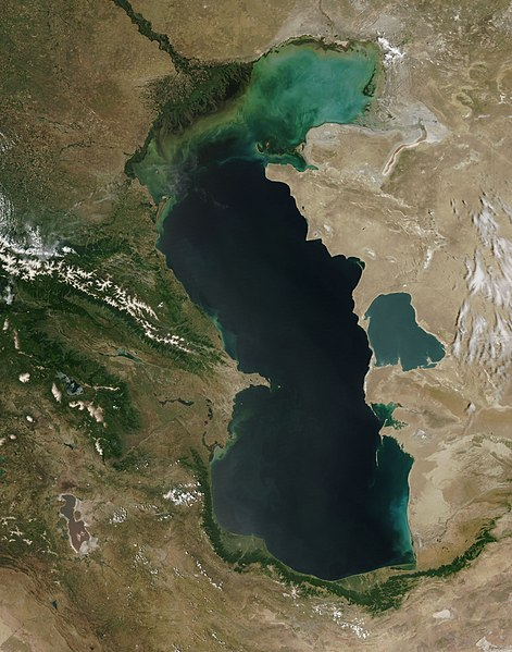 Zdjęcie satelitarne Morza Kaspijskiego