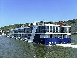 A River-Cruise ship on the Danube in Vilshofen...