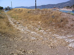 Western end of the ancient Greek ship trackway...