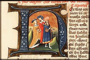 English: Illuminated letter of Elkanah and his...