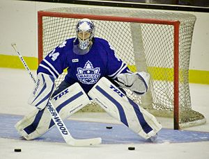 Toronto Marlies goalie James Reimer during war...