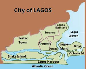 Map of Lagos, Nigeria showing urban areas, lag...